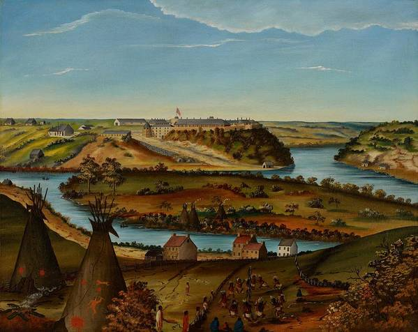 View; Panorama; Fort Snelling; Minnesota; Landscape; Teepee; Tipi; Native Americans; Colonial; Camp; Military; Mississippi; River; America; American; Usa; Naive; Red Indians; Houses; Buildings; Exterior; View; Panorama; Fort Snelling; Minnesota; Landscape; Teepee; Tipi; Native Americans; Colonial; Camp; Military; Mississippi; River; America; American; Usa; Naive; Red Indians; Houses; Buildings; Exterior; Tent Print featuring the painting View Of Fort Snelling by Edward K Thomas