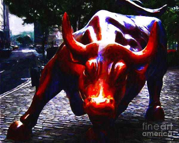 Wallstreet Art Print featuring the photograph Wall Street Bull - Painterly by Wingsdomain Art and Photography