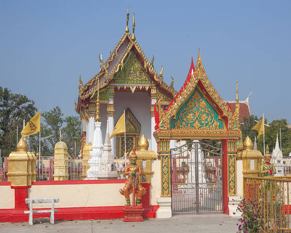 Scenic Art Print featuring the photograph Wat Kampaeng Phra Ubosot And Gate Dtha0142 by Gerry Gantt