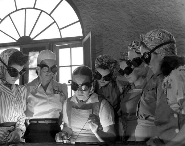 History Art Print featuring the photograph Welding Training For Women by Everett