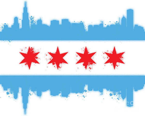 Chicago Art Print featuring the digital art White Chicago Flag by Mike Maher