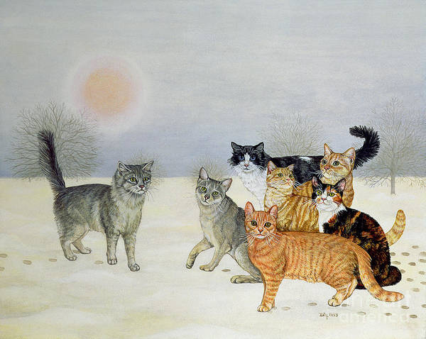 Winter Art Print featuring the painting Winter Cats by Ditz