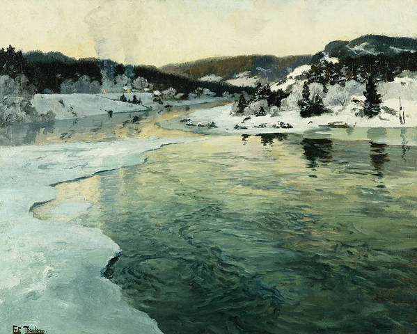 Fritz Print featuring the painting Winter On The Mesna River Near Lillehammer by Fritz Thaulow