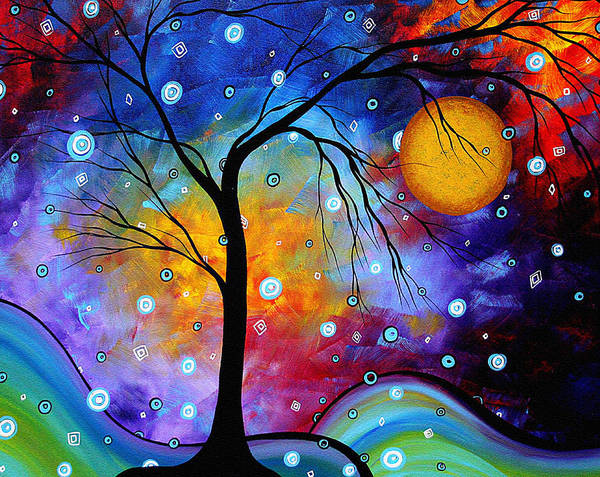 Abstract Art Print featuring the painting Winter Sparkle Original Madart Painting by Megan Duncanson