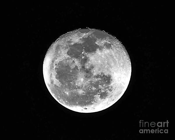 Moon Print featuring the photograph Wolf Moon Waning by Al Powell Photography USA
