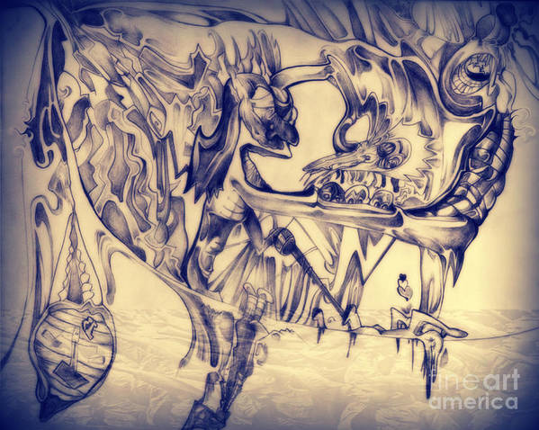 Abstract Art Print featuring the drawing WW3 by Daniel Brummitt