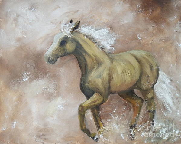 Horse Art Print featuring the painting Yearling In Storm by Abbie Shores