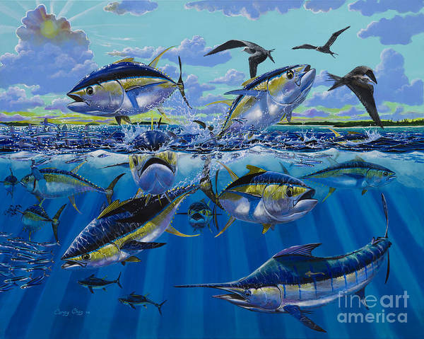 Yellowfin Tunas Art Print featuring the painting Yellowfin Run Off002 by Carey Chen