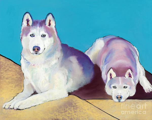 Two Dogs Art Print featuring the pastel Best Buddies by Pat Saunders-White