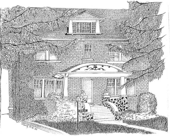 Home Rendering In Pen And Ink That Took Over 12 Hours To Complete. I Can Be Commissioned To Do Portraits Art Print featuring the drawing House / Home Rendering by Marty Rice