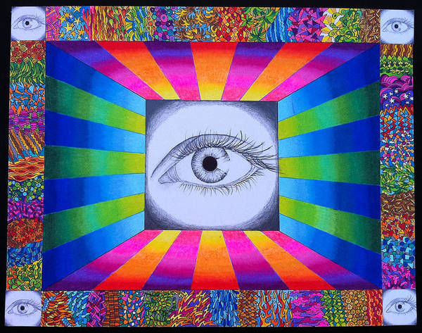 Eye Art Print featuring the drawing Kaleyedascope by Donna Spadola