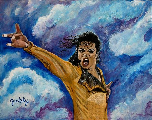 Gretzky Art Print featuring the painting Michael Jackson by Paintings by Gretzky