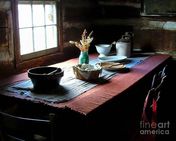 Old Cabins Art Print featuring the photograph Old Cabin Table by Julie Dant