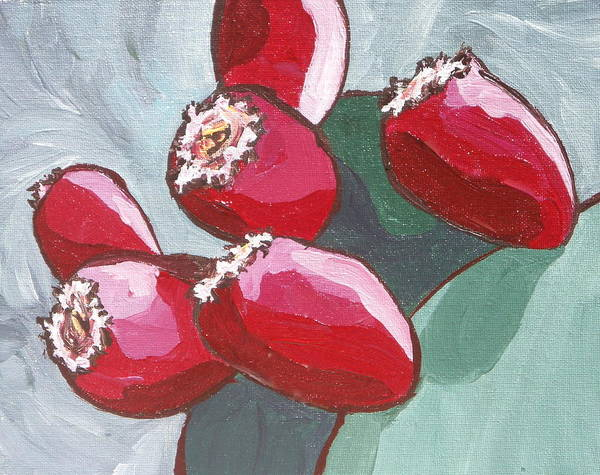 Cactus Art Print featuring the painting Prickly Pear Fruit by Sandy Tracey