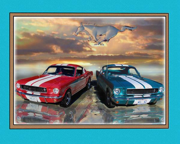 Mustangs 1965 Fast Backs Art Print featuring the digital art Twin 65s by John Breen