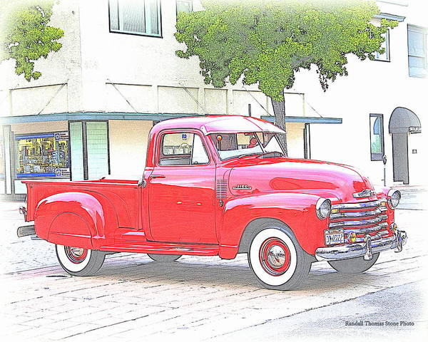 Truck Art Print featuring the photograph 1953 Red Chevy Pickup Truck by Randall Thomas Stone