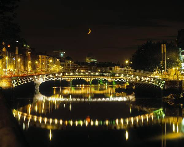 19th Century Art Print featuring the photograph Hapenny Bridge, River Liffey, Dublin by The Irish Image Collection