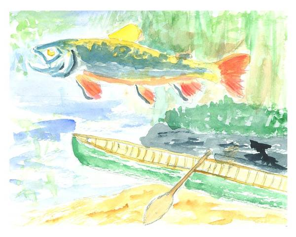Trout Art Print featuring the painting Adirondack Dreaming by David Crowell