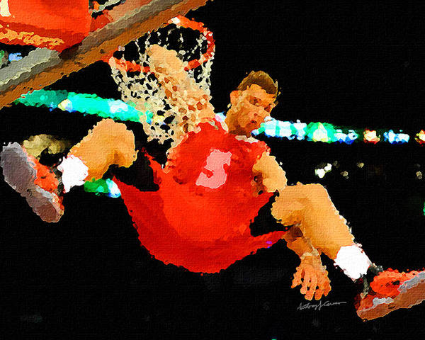 Sports Art Print featuring the painting After The Slam Dunk by Anthony Caruso