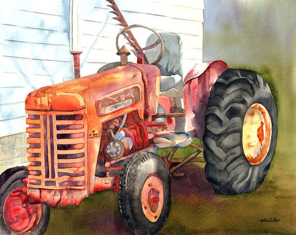 Tractor Art Print featuring the painting An Old Tractor by Michiko Taylor