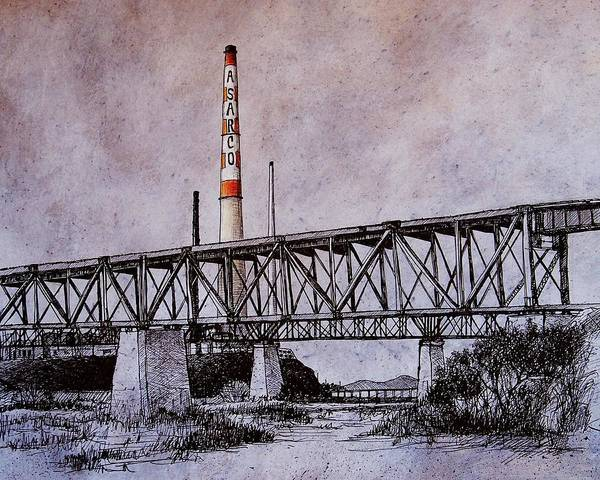 Asarco Art Print featuring the drawing Asarco In Pen And Ink by Candy Mayer