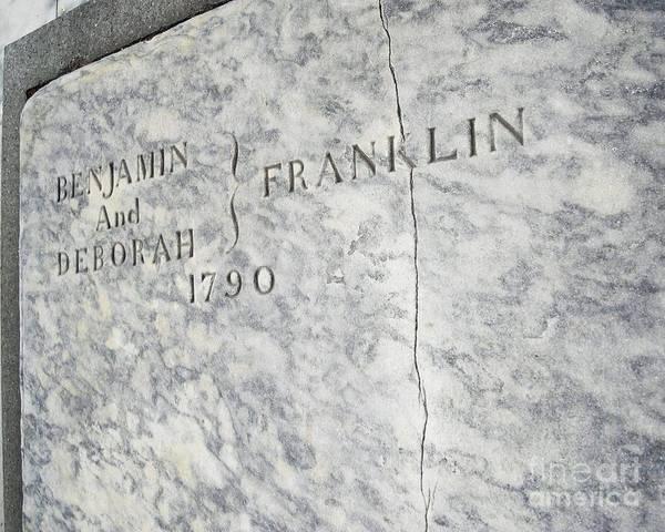 Benjamin Franklin Art Print featuring the photograph Benjamin Franklin's Grave by Snapshot Studio