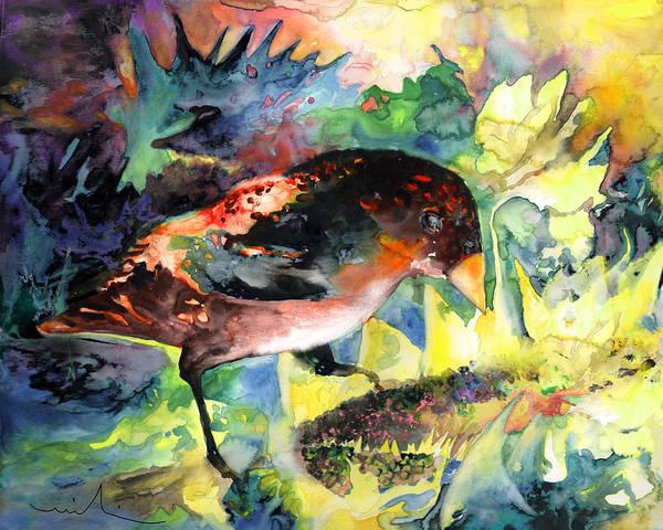 Birds Art Print featuring the painting Blackbird With Sunflower by Miki De Goodaboom