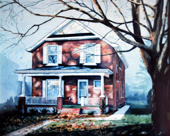 House Portrait From Photo Art Print featuring the painting Brant Avenue Home by Hanne Lore Koehler