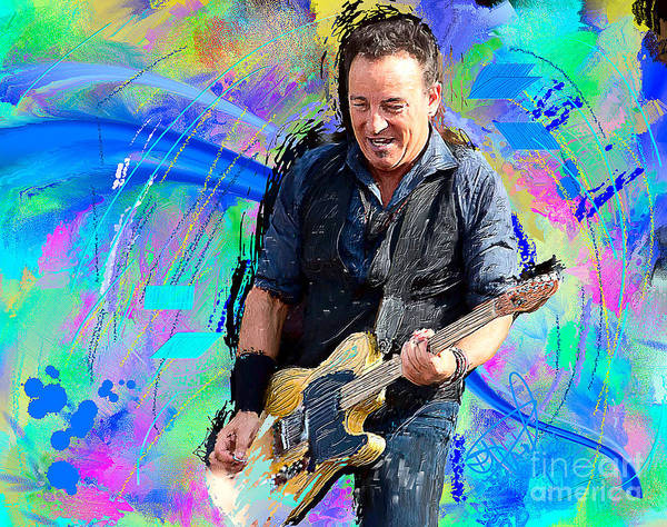Portrait Art Print featuring the painting Bruce Springsteen by Donald Pavlica