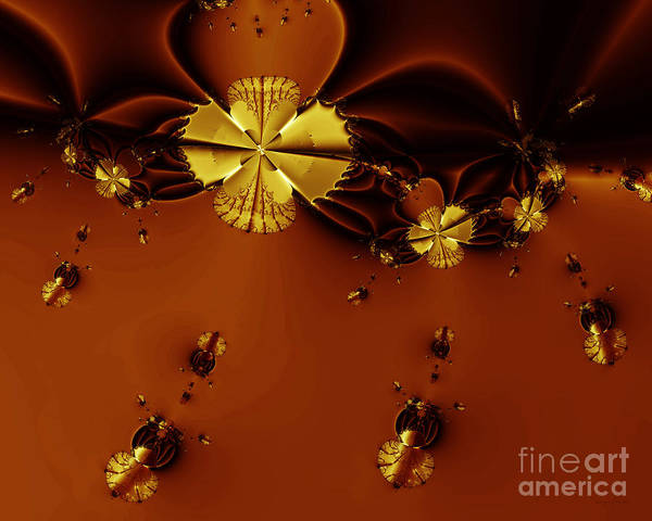Fractal Art Print featuring the digital art Bumble Beez Over Chocolate Lake . S19 by Wingsdomain Art and Photography
