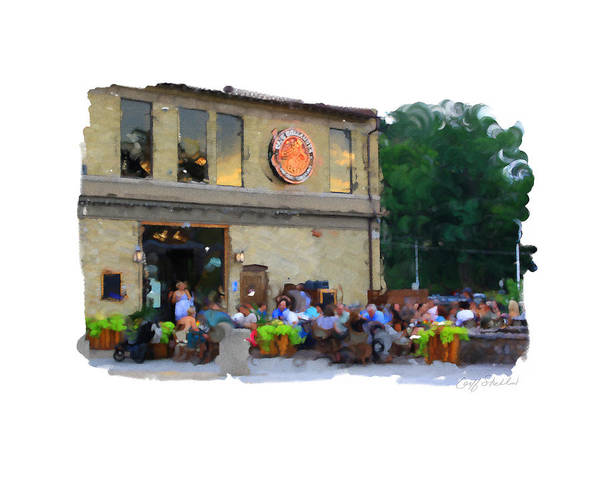 Wauwatosa Village Wisconsin Outdoor Seating Tosa Harwood State Street Underwood Church Summer Art Print featuring the digital art Cafe Hollander by Geoff Strehlow