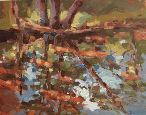 Landscape Prints Art Print featuring the painting Cedar Creek Reflection by Jenny Anderson