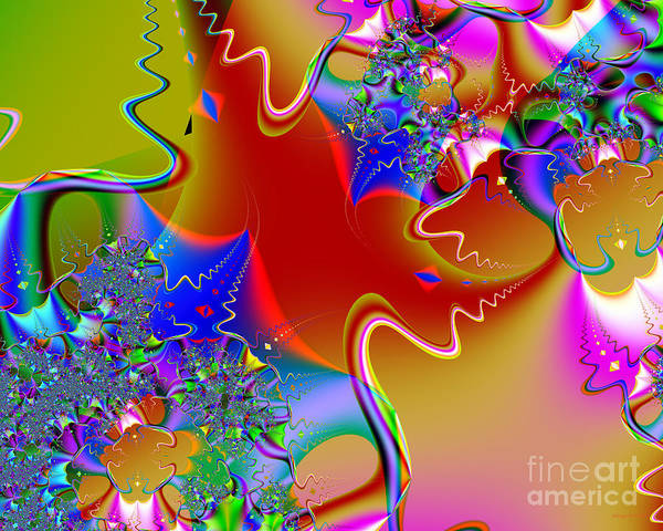 Fractal Art Print featuring the digital art Celebration . S16 by Wingsdomain Art and Photography