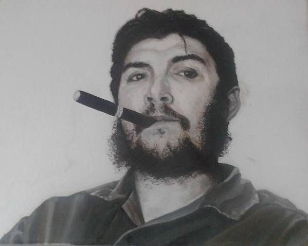 Che Guevara Oil Painting Black And White Portrait Art Print featuring the painting che by William McCann