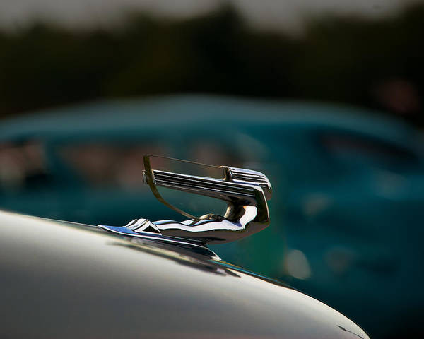Hood Ornament Art Print featuring the pyrography Chrome Flyer by Paul Barkevich