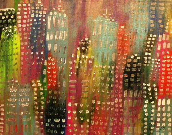 City Art Print featuring the painting City Lights by Etta Harris