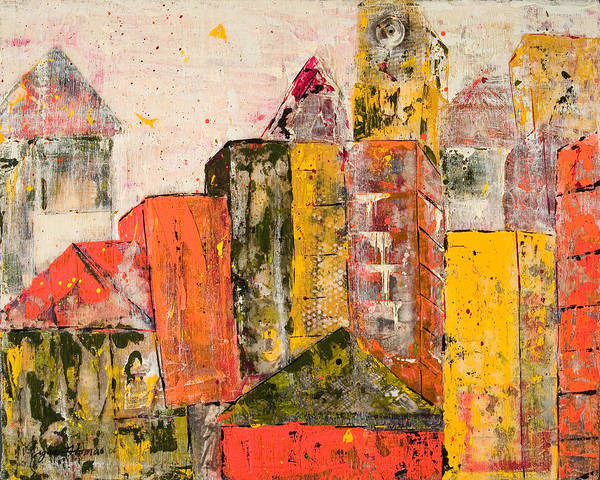 Architectural Art Print featuring the mixed media Cityscape by Regina Thomas