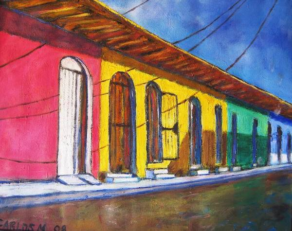 Art Print featuring the painting Colonial Homes Granada Nicaragua by Carlos Morales