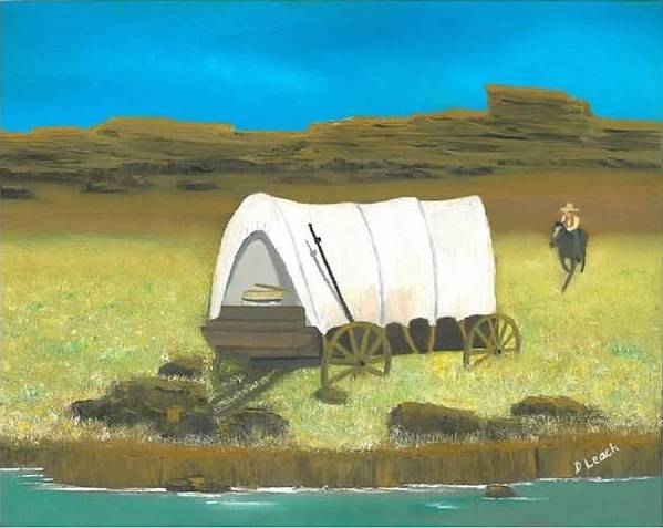 Western Art Art Print featuring the painting Covered Wagon by Donna Leach