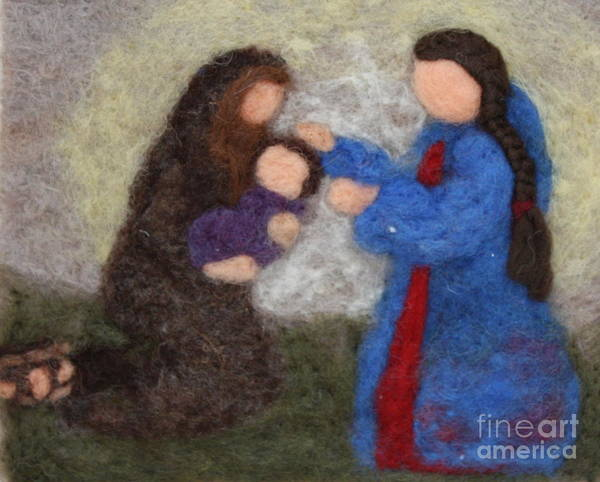 Needle Art Print featuring the tapestry - textile Creche Scene by Nicole Besack