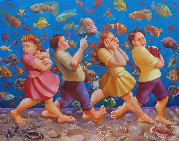Red Sea Art Print featuring the painting Crossing The Red Sea by Rosemarie Adcock