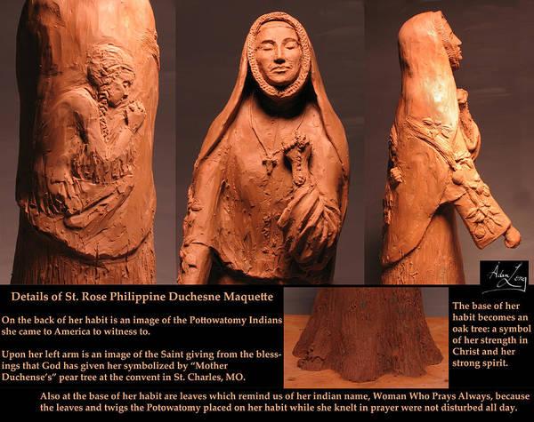 Saint Art Print featuring the sculpture Details Of Symbols On Saint Rose Philippine Duchesne Sculpture. by Adam Long