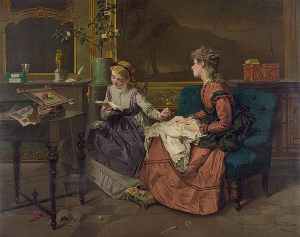 History Print featuring the photograph Domestic Scene With Two Girls, One by Everett