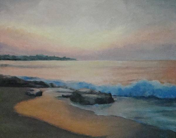 New Hampshire Art Print featuring the painting Hampton Beach Predawn by Mark Haley