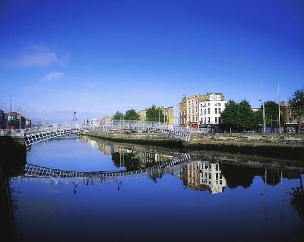 Blue Sky Art Print featuring the photograph Hapenny Bridge, River Liffey, Dublin by The Irish Image Collection
