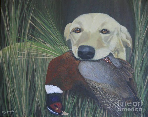 Lab Art Print featuring the painting Happy Lab by Diana Mahnke