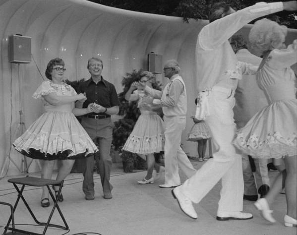 History Art Print featuring the photograph Jimmy Carter Square Dances by Everett