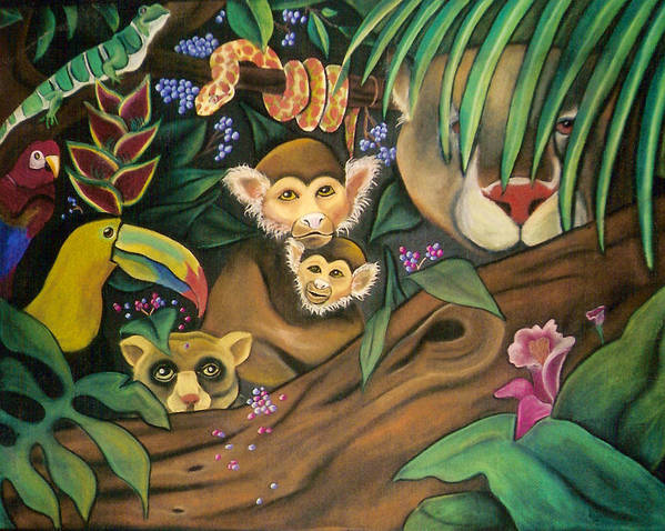 Jungle Art Print featuring the drawing Jungle Fever by Juliana Dube