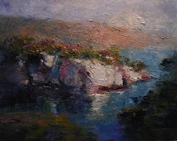 Calanques Art Print featuring the painting Les Calanques At Dusk by R W Goetting