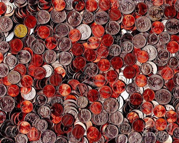 Kitsch Art Print featuring the photograph Loose Change . 8 To 10 Proportion by Wingsdomain Art and Photography